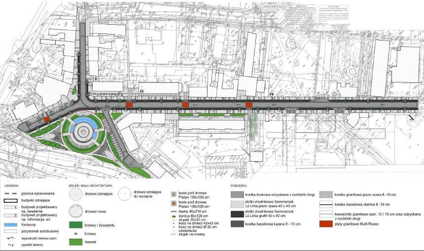 projekt zagospodarowania deptaku przy ul. 14-go Lutego oraz w części ulicy 11-go Listopada - studio Architektoniczne ARCHECON