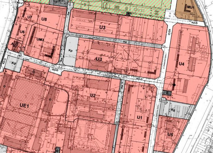 fragment planu zagospodarowania przestrzennego w rejonie ulic: Podchorążych i Bydgoskiej - tereny usługowe