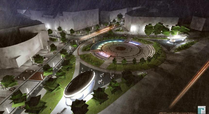 wizualizacja placu Konstytucji 3 Maja po przebudowie (na pierwszym planie widoczny nowy obiekt kubaturowy z przeznaczeniem na kawiarnie, w dalszym planie podświetlony nowy obiekt Informacji Turystycznej - studio Architektoniczne ARCHECON