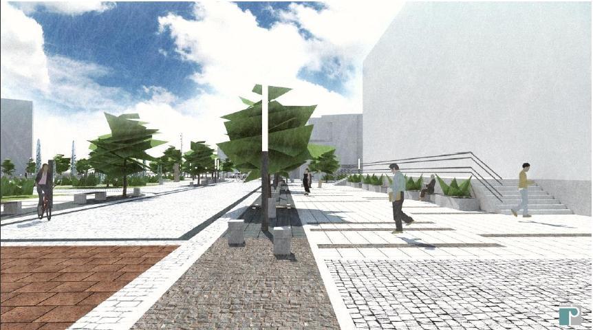 wizualizacja deptaku w ciągu ulicy 14-go Lutego (schody po prawej do Domu Książki) - studio Architektoniczne ARCHECON