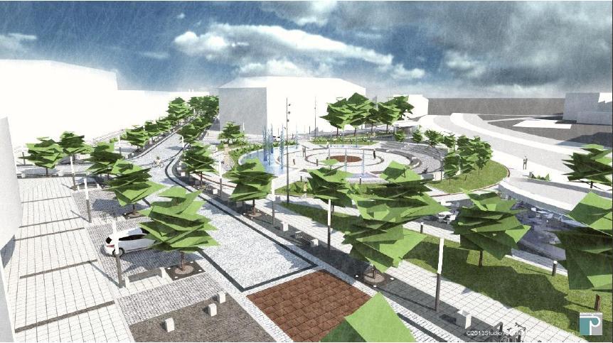 wizualizacja placu Konstytucji 3 Maja po przebudowie - studio Architektoniczne ARCHECON