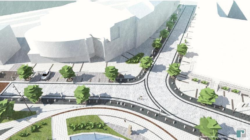 wizualizacja placu Konstytucji 3 Maja po przebudowie (widoczne przesunięcie pomnika bliżej ulicy 14-go Lutego) oraz skrzyżowania z ulicą 11-go Listopada - studio Architektoniczne ARCHECON