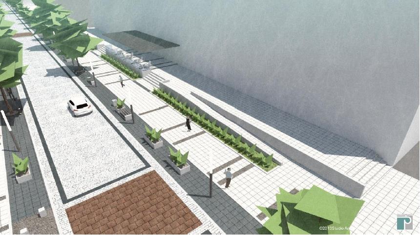 wizualizacja deptaku w ciągu ulicy 14-go Lutego (po prawej budynek mieszkalny z lokalami usługowymi) - studio Architektoniczne ARCHECON