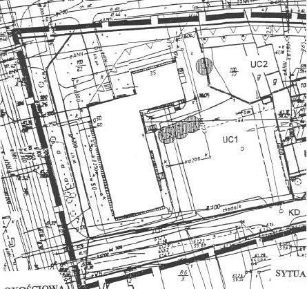 """fragment miejscowego planu ogólnego zagospodarowania przestrzennego Piły w rejonie ul. Bydgoskiej -  """"Dom Rzemiosła"""" UC1 i sąsiadująca działka UC2"""