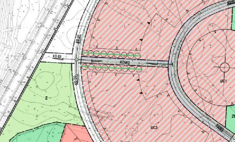 fragment miejscowego planu zagospodarowania przestrzennego miasta Piły - Bydgoskie Przedmieście - droga dojazdowa KD-D1 w przyszłości powiązana z ul. Lutycką