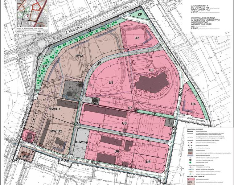 załącznik graficzny miejscowego planu zagospodarowania przestrzennego dla terenów wokół Aquaparku