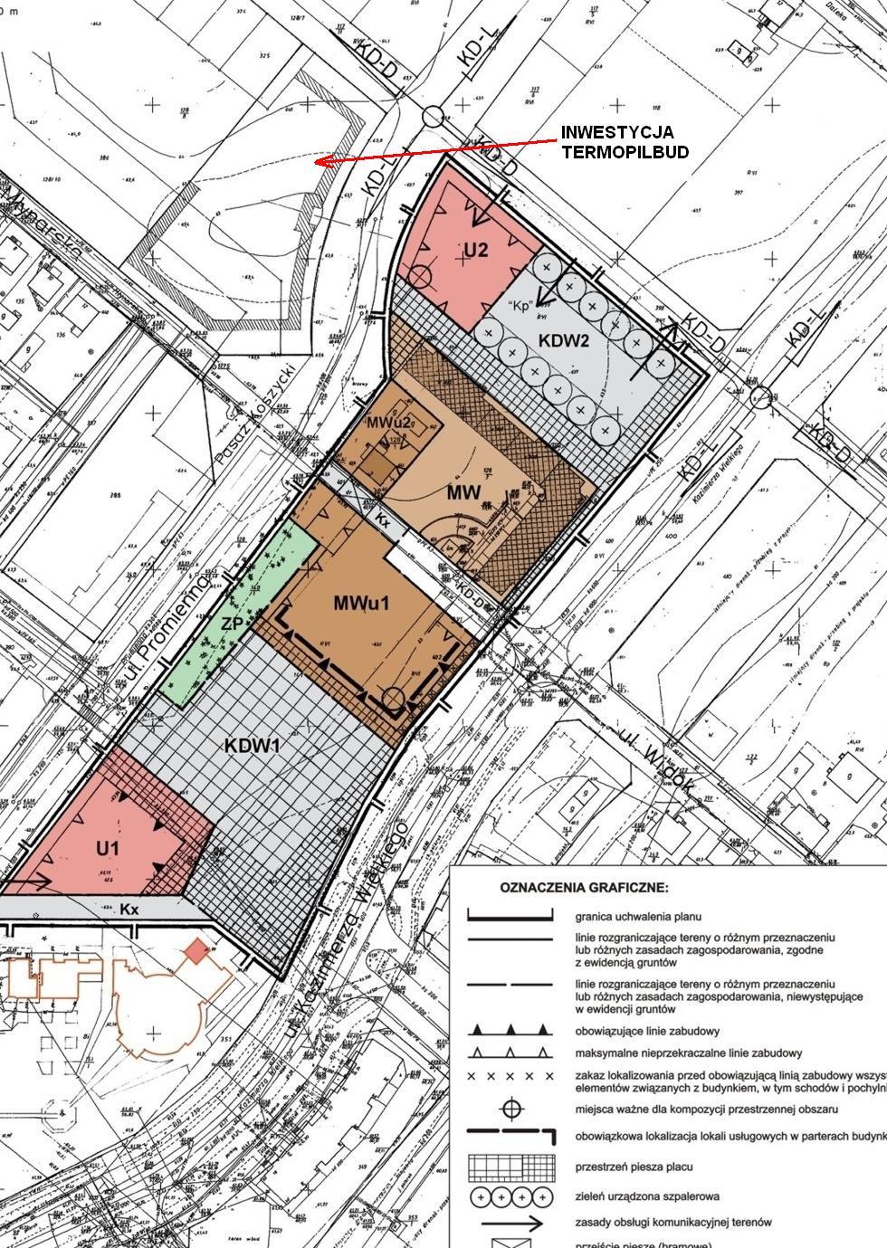 fragment miejscowego planu zagospodarowania przestrzennego z zaznaczoną działką przy ul. Promiennej