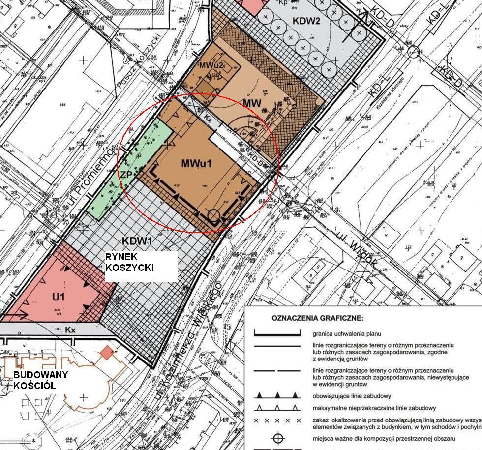 grafika mpzp z zaznaczoną niezabudowaną jeszcze działką (MWu1) przy Rynku Koszyckim