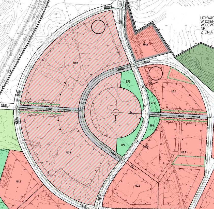 fragment miejscowego planu zagospodarowania przestrzennego miasta Piły - Bydgoskie Przedmieście - tereny UC i U2,1 ÷ U2.3.