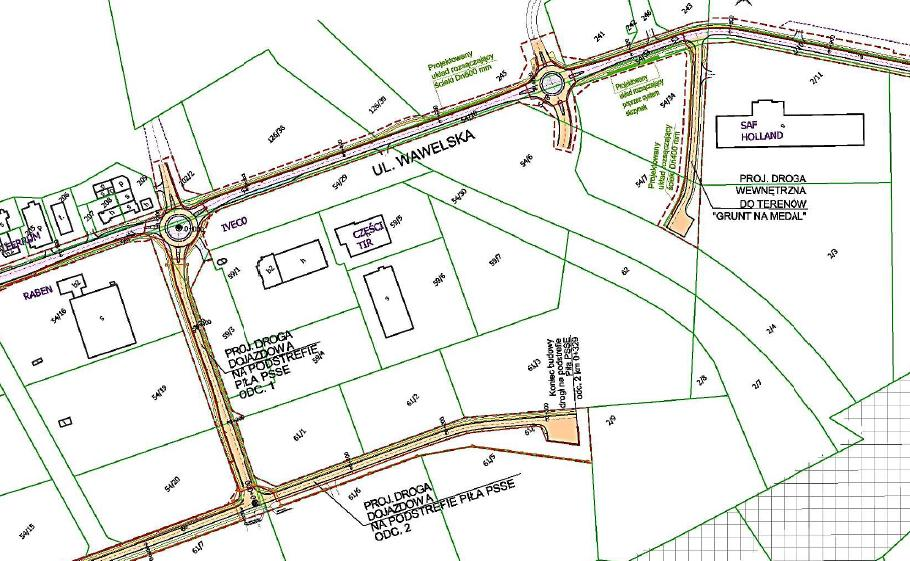 plan budowy i przebudowy w obrębie strefy przemysłowej (aby powiększyć - kliknij w obrazek)