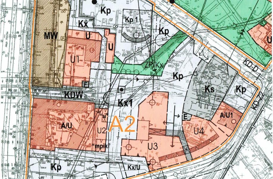 fragment grafiki miejscowego planu zagospodarowania przestrzennego obszaru śródmiejskiego z 2006 r. - działki U3, U2, U4 - nowa zabudowa placu; Kp - teren parkingów; Kx1 - przestrzeń placu Pocztowego.