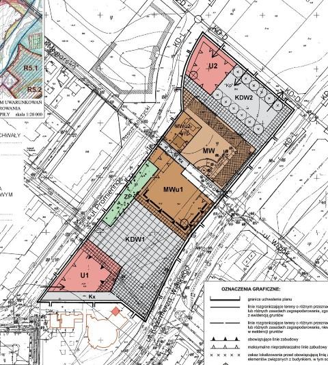 rysunek miejscowego planu zagospodarowania przestrzennego - Rynek Koszycki oznaczony jako KDW1