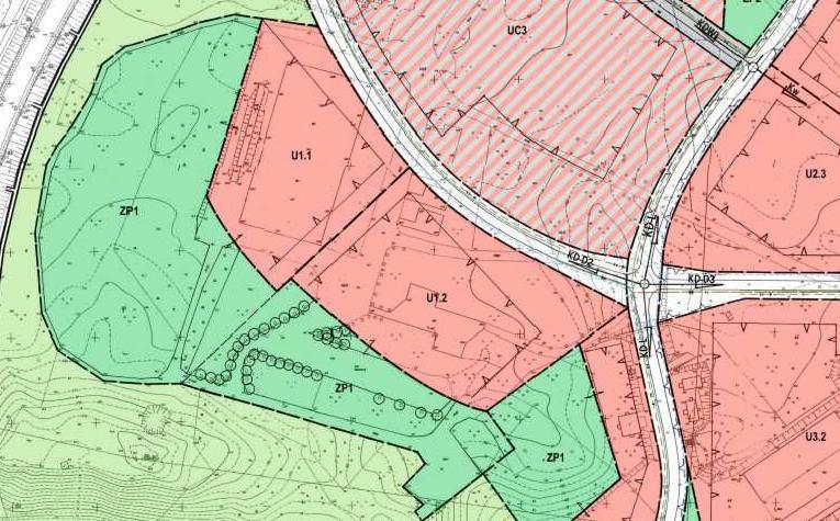 fragment miejscowego planu zagospodarowania przestrzennego miasta Piły - Bydgoskie Przedmieście - tereny U1.1 i U1.2
