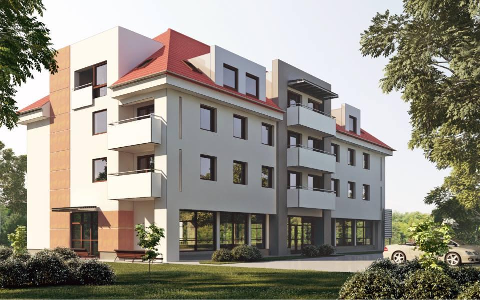 wizualizacja budynku przy ul. Rodła i ul. Podchorążych - autorstwa Pracownia Architektoniczna Lech Wojtasik