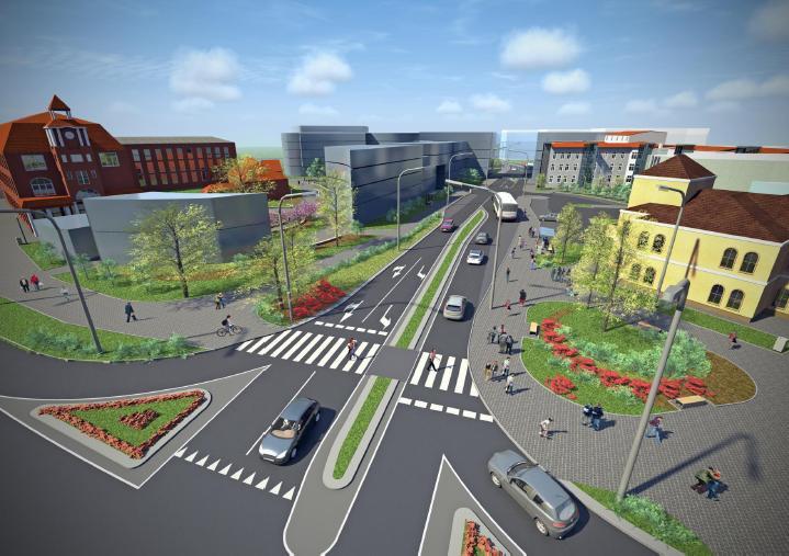 wizulizacja nowej przykładowej zabudowy przy pl. Pocztowym oraz ulicy Piłsudskiego - wizualizacje przygotowane na zlecenie Urzędu Miejskiego