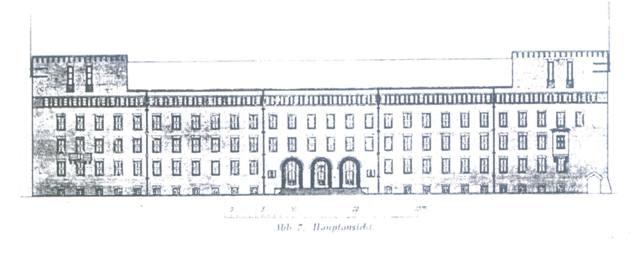 rysunek elewacji frontowej budynku Regierungsgebaeude