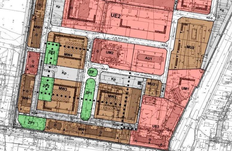 fragment planu zagospodarowania przestrzennego w rejonie ulic: Podchorążych i Bydgoskiej - teren osiedla pilskiego TBSu