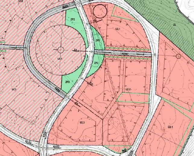 fragment miejscowego planu zagospodarowania przestrzennego miasta Piły - Bydgoskie Przedmieście - teren U2.1, U2.2, U2.3