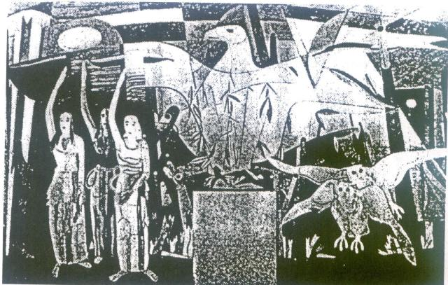 """freski """"Symboliczne zwycięstwo Rzeszy"""" prof. Heinricha Campendonk z Duesseldorf"""