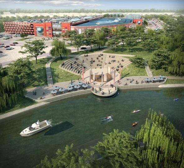 wizualizacja galerii FOCUS autorstwa Arch Magic - widok na amfiteatr nad rzeką