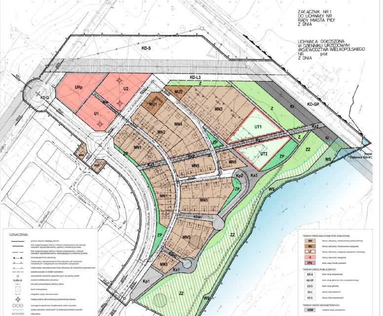 rysunek miejscowego planu zagospodarowania przestrzennego w rejonie węzła Piła-Koszyce - kliknij w rysunek