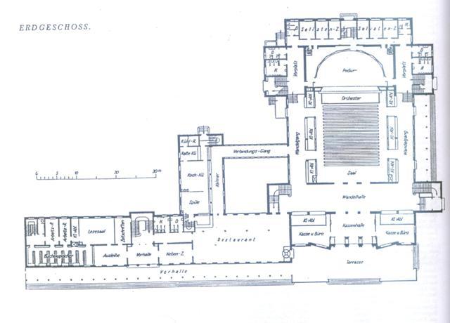 Rzut parteru budynku teatru i skrzydła administracyjno-usługowego.
