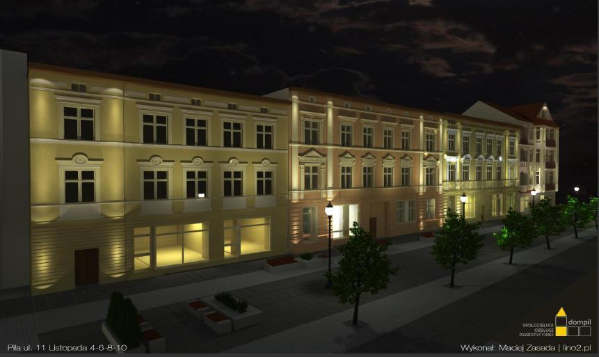 wizualizacje odnowionych elewacji kamienic przy ul. 11-go Listopada - autorstwa DOMPIL - Maciej Zasada.