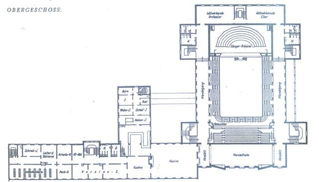 Rzut piętra budynku teatru i skrzydła administracyjno-usługowego.