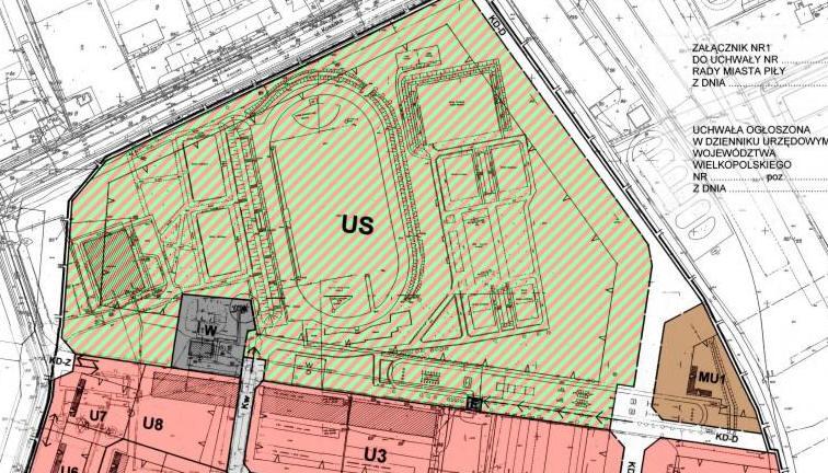 fragment planu zagospodarowania przestrzennego w rejonie ulic: Podchorążych i Bydgoskiej - tereny sportowe