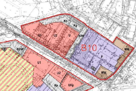 fragment planu zagospodarowania przestrzennego obszaru śródmiejskiego - jednostka B10
