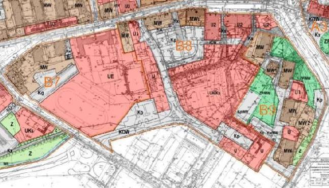fragment planu zagospodarowania przestrzennego obszaru śródmiejskiego - jednostki B7 ÷ B9