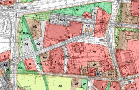 fragment planu zagospodarowania przestrzennego obszaru śródmiejskiego - jednostka F1