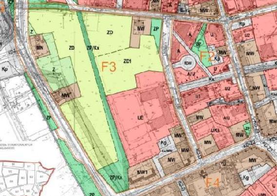 fragment planu zagospodarowania przestrzennego obszaru śródmiejskiego - jednostki F2 ÷ F3