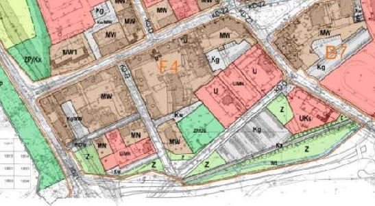 fragment planu zagospodarowania przestrzennego obszaru śródmiejskiego - jednostka F4