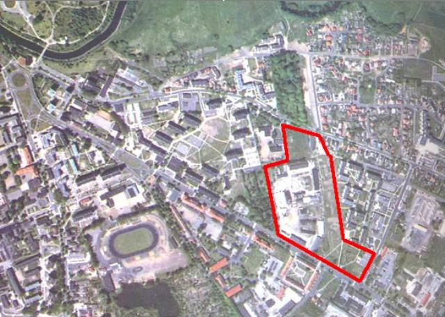widok z lotu ptaka na obszar przy al. Powstańców Wlkp. - ul. Łącznej (przed 2000 r.)