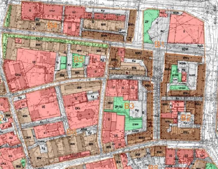 fragment planu zagospodarowania przestrzennego obszaru śródmiejskiego - jednostki B1 ÷ B6