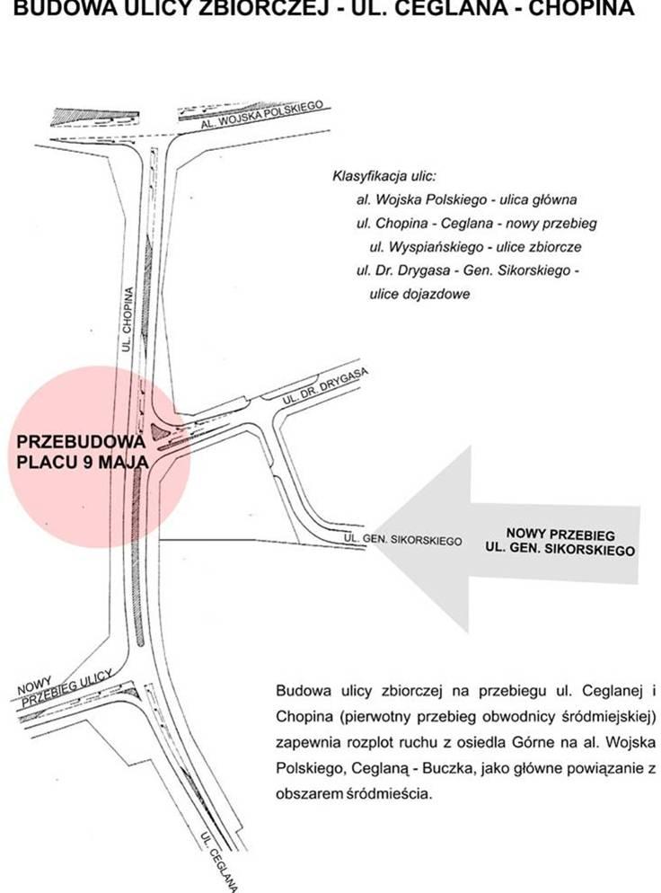 ulica zbiorcza Ceglana - Chopina - fragment materiałów konsultacyjnych opracowanych w Miejskiej Pracowni Urbanistycznej Urzędu Miasta Piły