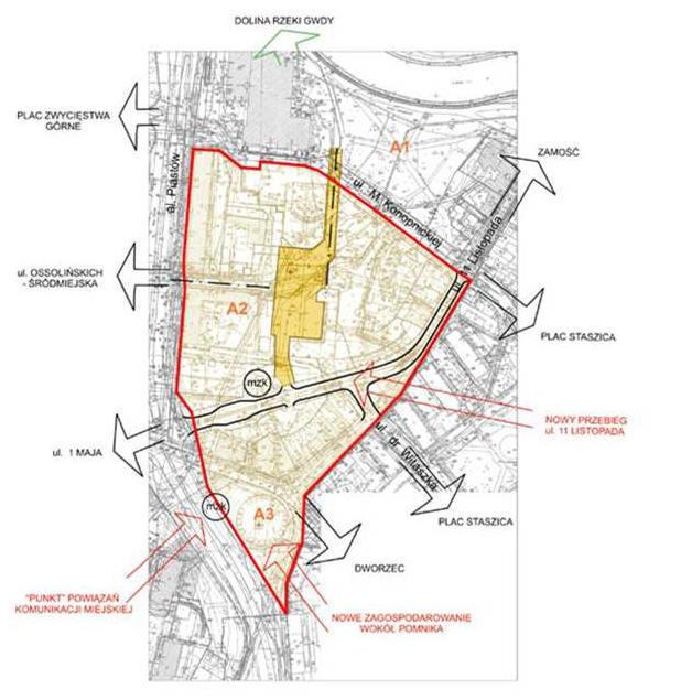 Jednostka A - fragment materiałów konsultacyjnych opracowanych w Miejskiej Pracowni Urbanistycznej Urzędu Miasta Piły