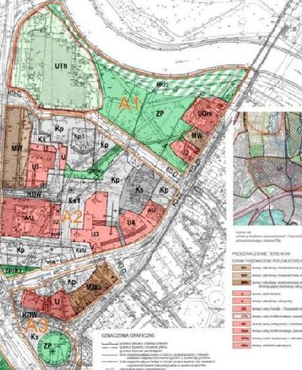 fragment planu zagospodarowania przestrzennego śródmieścia - jednostki A1, A2, A3