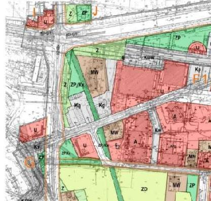 fragment planu zagospodarowania przestrzennego śródmieścia - jednostki I, J, G